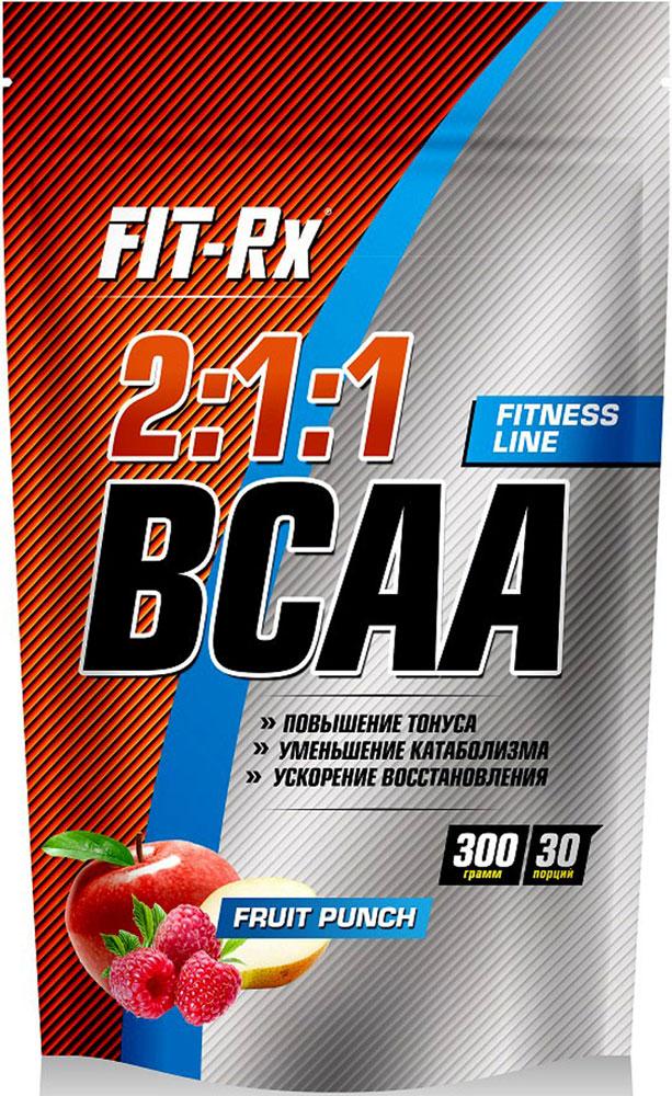 Комплекс аминокислот FIT-RX BCAA 2:1:1, фруктовый пунш, 300 г комплекс аминокислот fit rx bcaa 2 1 1 фруктовый пунш 300 г