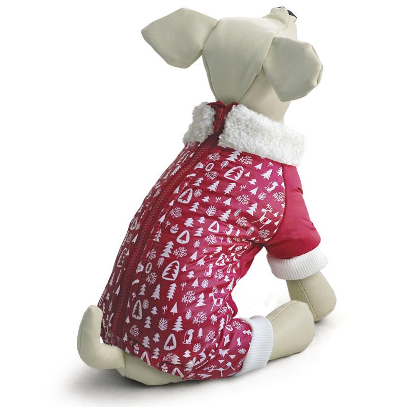 """Комбинезон для собак Triol """"Елочки"""", утепленный, унисекс, цвет: красный Размер S"""