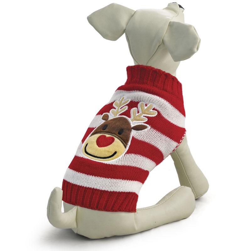 """Свитер для собак Triol """"Олененок"""", унисекс, цвет: красный, белый. Размер M"""