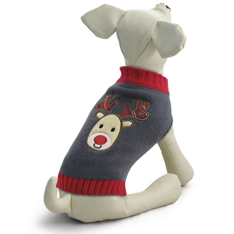 """Свитер для собак Triol """"Олененок"""", унисекс, цвет: серый. Размер M"""
