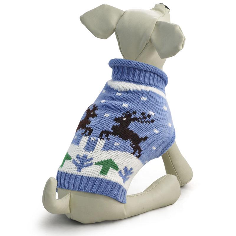 """Свитер для собак Triol """"Олени"""", унисекс, цвет: голубой. Размер M"""
