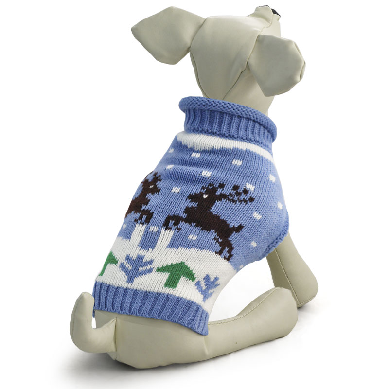 """Свитер для собак Triol """"Олени"""", унисекс, цвет: голубой. Размер L"""