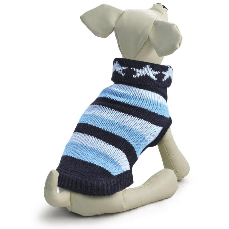 "Свитер для собак Triol ""Звезды"", унисекс, цвет: синий, голубой. Размер M"