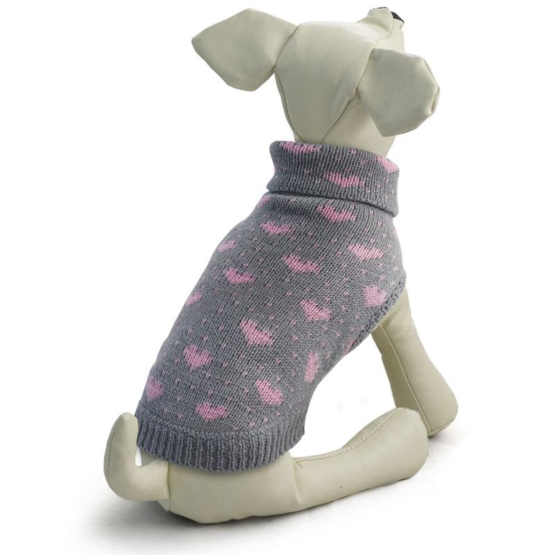 """Свитер для собак Triol """"Сердечки"""", для девочки, цвет: серый, розовый. Размер M"""