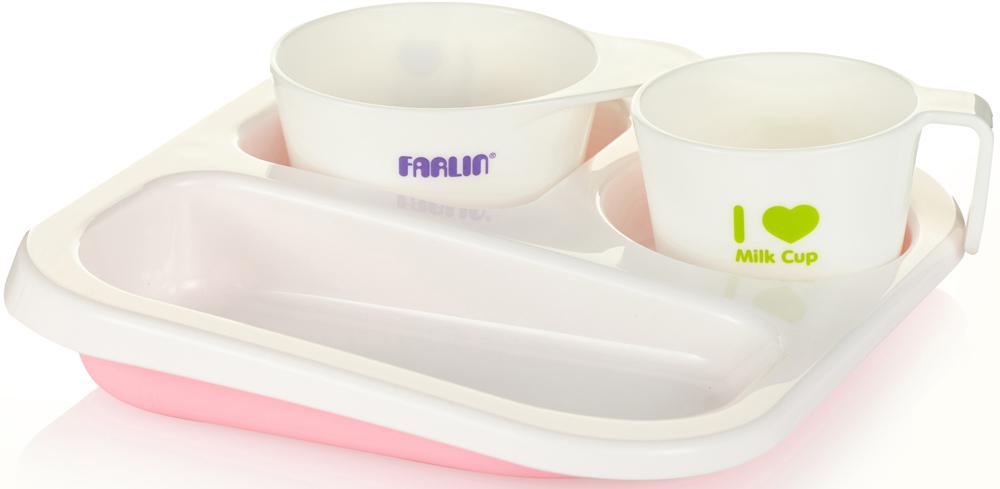Farlin Набор посуды для кормления цвет розовый 3 предмета lubby набор посуды для кормления 3 предмета цвет оранжевый