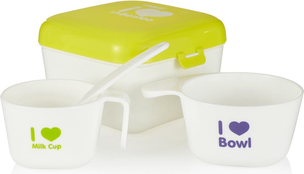 Farlin Полезный контейнер для еды с аксессуарами цвет желтый