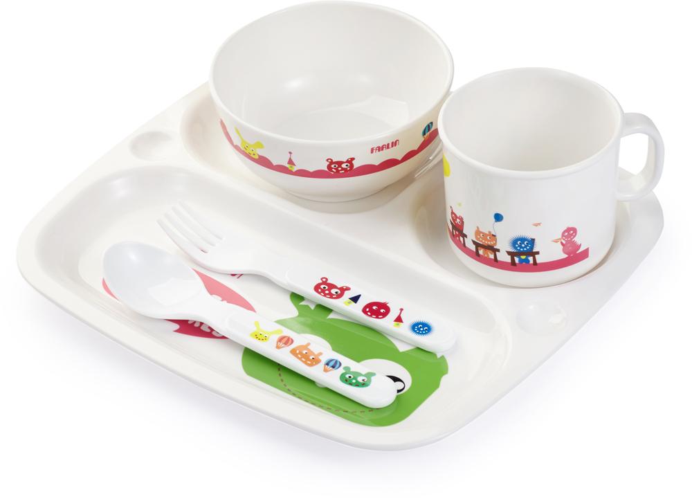 Farlin Набор посуды для кормления 5 предметов авент набор для кормления слюнявчик чашка ложечка scf730 00