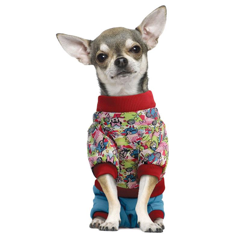 """Комбинезон для собак Triol """"Friends"""", зимний, унисекс, цвет: голубой, красный. Размер L"""