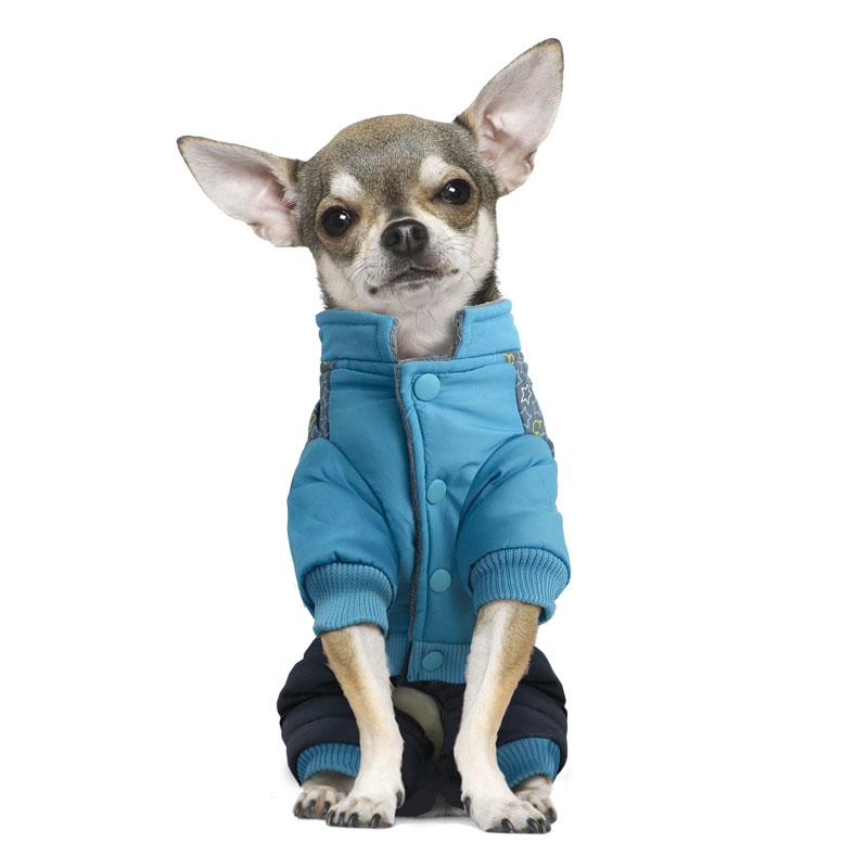 "Комбинезон для собак Triol ""Mickey-2"", зимний, для мальчика, цвет: голубой, серый. Размер S"