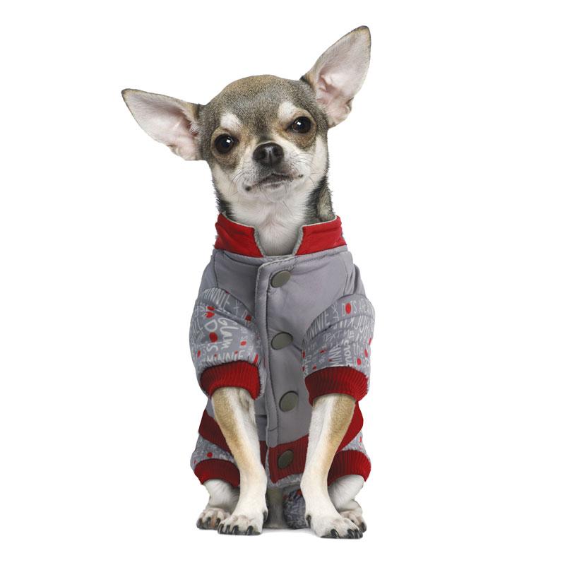 """Комбинезон для собак Triol """"Minnie-2"""", зимний, для девочки, цвет: серый, красный. Размер XS"""