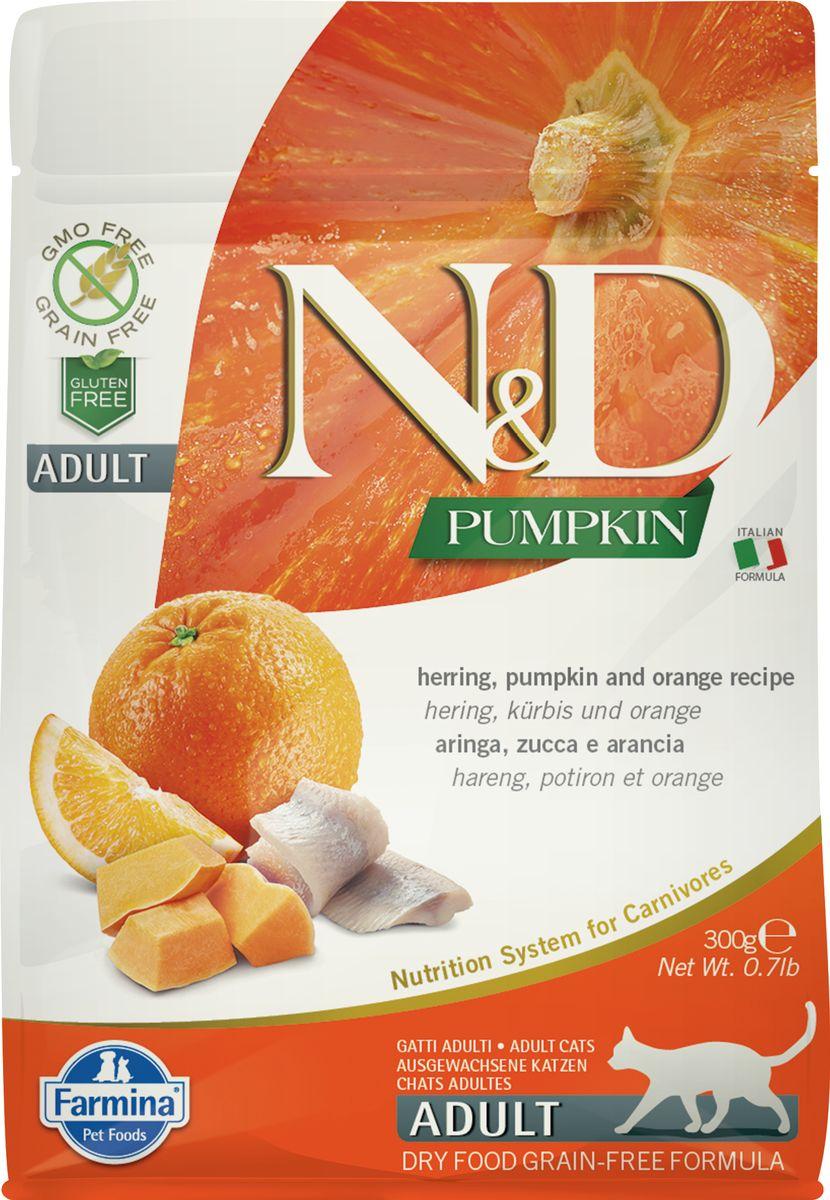 """Сухой корм """"Farmina"""" для взрослых кошек, беззерновой, сельдь, тыква и апельсин, 300 г"""