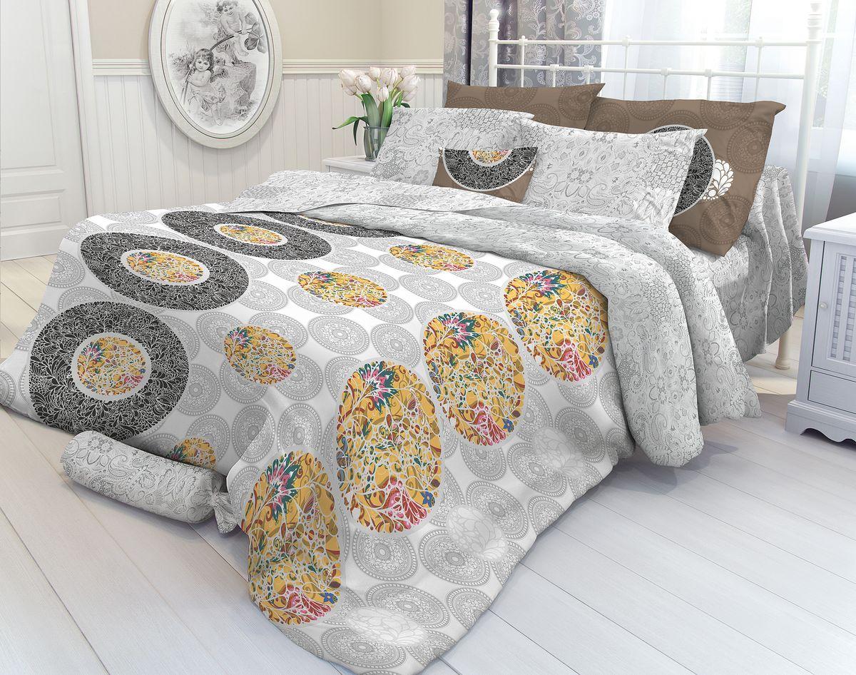 Комплект белья Verossa Vizantia, 1,5-спальный, наволочки 50х70. 718686718686Комплект постельного белья включает в себя четыре предмета: простыню, пододеяльник и две наволочки, выполненные из перкаля. Перкаль - гладкая и прочная ткань, которая своим блеском, легкостью и гладкостью похожа на шелк, но выгодно отличается от него в цене. Перкаль практически не мнется, поэтому его можно не гладить. Ко всему прочему, он весьма практичен, так как хорошо переносит множественные стирки.