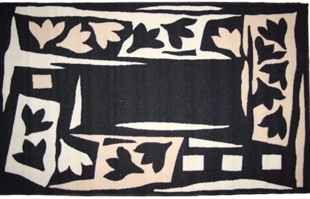 Ковер MAC Carpet Розетта. Бутон, цвет: черный, белый, 100 x 160 см коврик для ванной mac carpet розетта цвет коричневый розовый 57 х 60 см