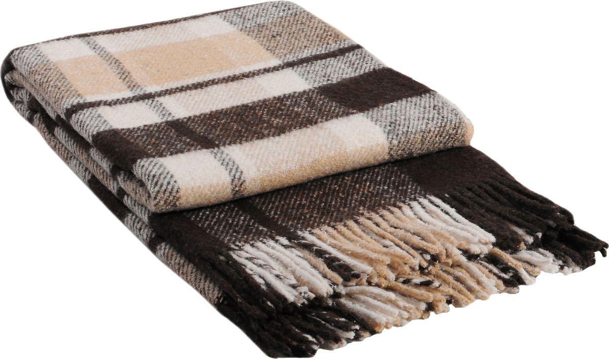 Плед Vladi Метро, цвет: белый, бежевый, коричневый, 140 х 200 см пледы hongda textile махровое чудо коричневый широкая полоса
