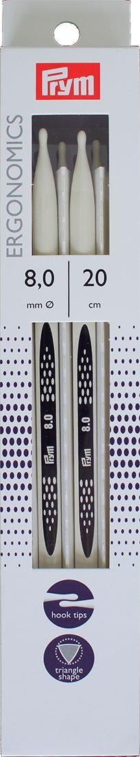 """Спицы чулочные Prym """"Ergonomics"""", диаметр 8 мм, длина 20 см, 5 шт. 194210"""