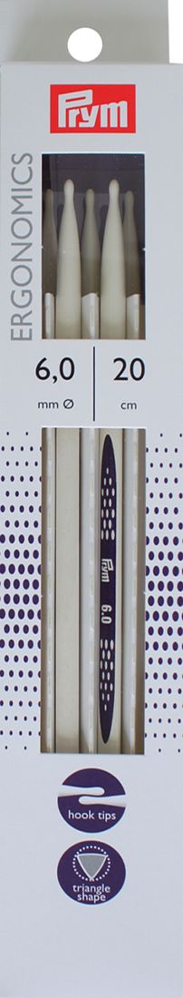 """Спицы чулочные Prym """"Ergonomics"""", диаметр 6 мм, длина 20 см, 5 шт. 194208"""
