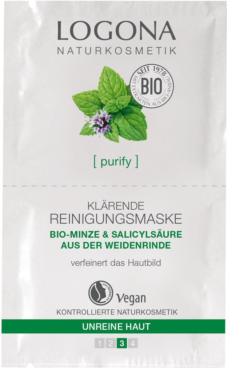 Logona Очищающая маска для выравнивания кожи лица с Био-Мятой и Салициловой кислотой из Коры Ивы, 15 мл маска для лица logona logona lo042lwazvz7