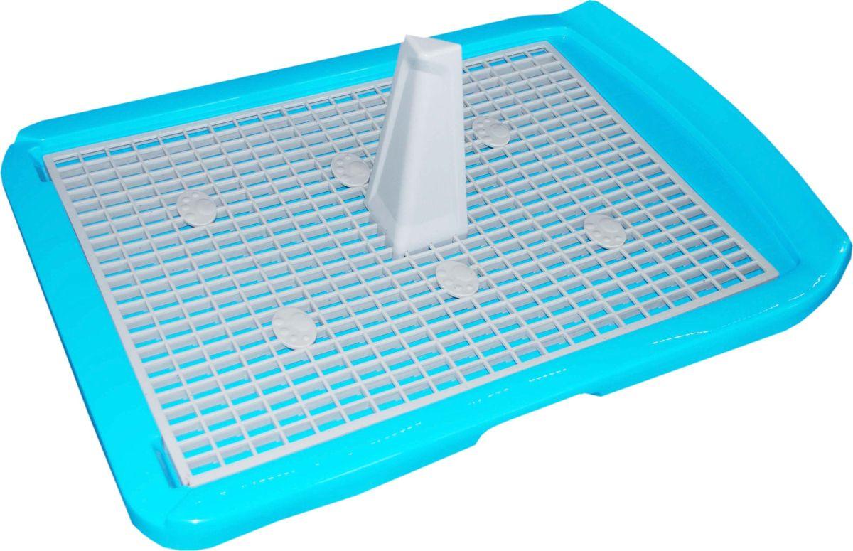 Туалет для собак Makar, с решеткой, цвет: голубой, 40 х 60 см туалет makar бокс голубой с выдвижным поддоном для кошек 55х42х43 см мак101