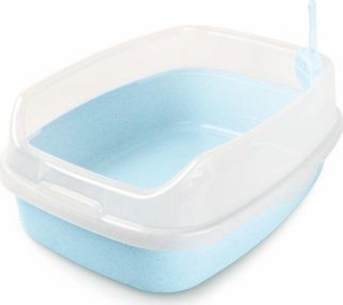 Туалет для животных Makar, с бортом, цвет: голубой, 62 х 46 х 25 см туалет makar бокс голубой с выдвижным поддоном для кошек 55х42х43 см мак101