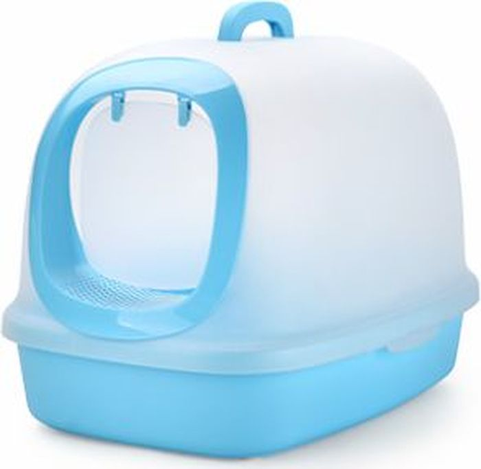 Туалет-бокс для кошек Makar, цвет: голубой, 62 х 46 х 46 см туалет makar бокс голубой с выдвижным поддоном для кошек 55х42х43 см мак101