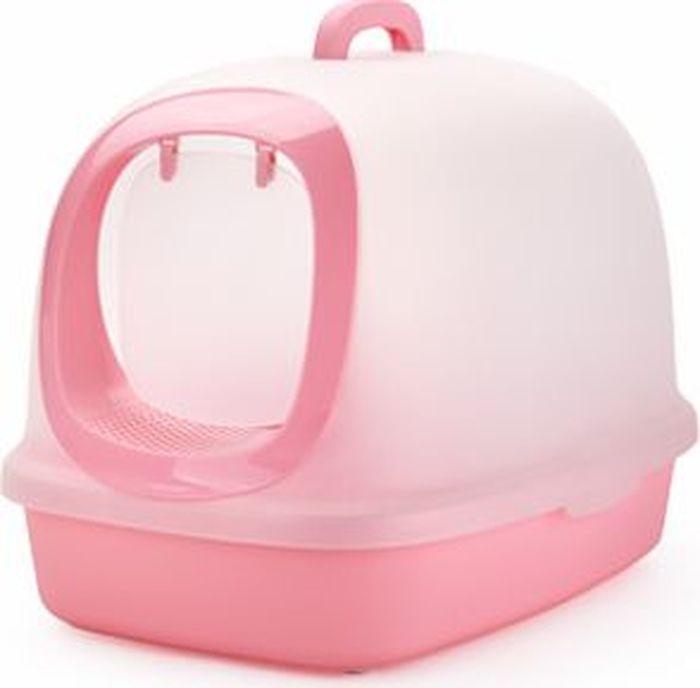 Туалет-бокс для кошек Makar, цвет: розовый, 62 х 46 х 46 см туалет makar бокс голубой с выдвижным поддоном для кошек 55х42х43 см мак101