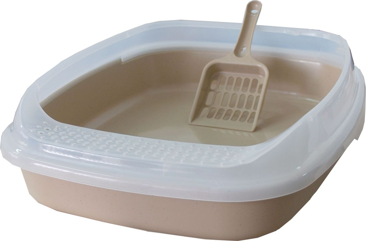 "Туалет для кошек ""Makar"", с бортом, цвет: бежевый, 46 х 36,3 х 11 см"