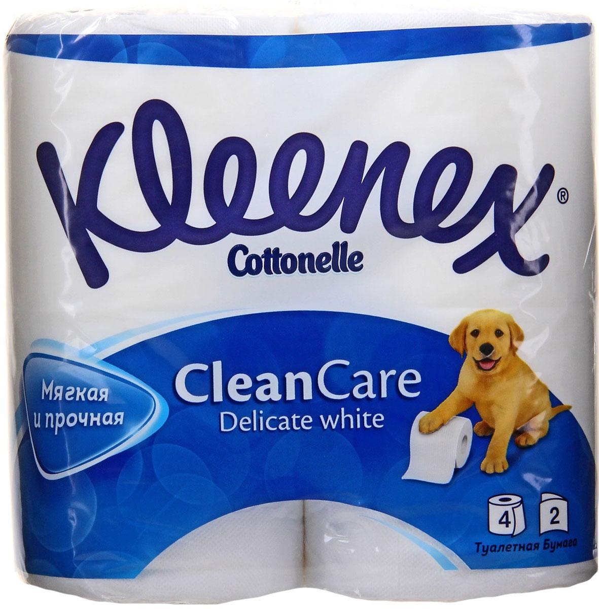 Туалетная бумага Kleenex Delicate White, двухслойная, цвет: белый, 4 рулона туалетная бумага biocos двухслойная цвет белый 4 рулона