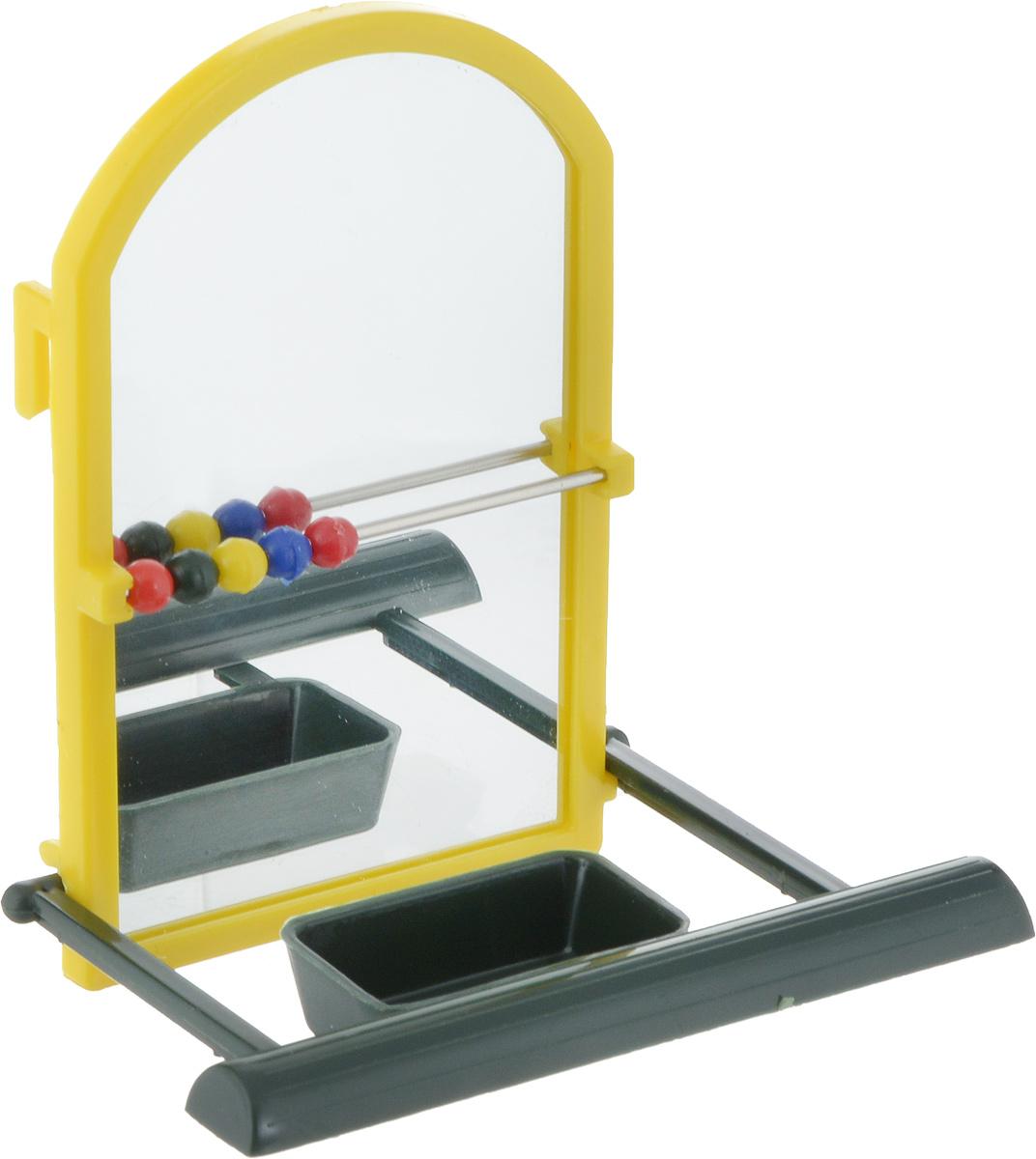 Игрушка для попугая Trixie Зеркало, с жердочкой, цвет: желтый, 9 см цена
