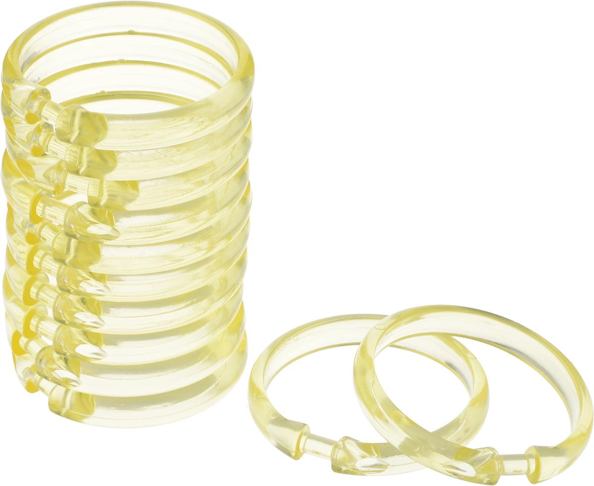 Кольца для шторки в ванной Verran Lokee, цвет: желтый, 12 шт кольца для шторки в ванной verran цвет белый 682 10