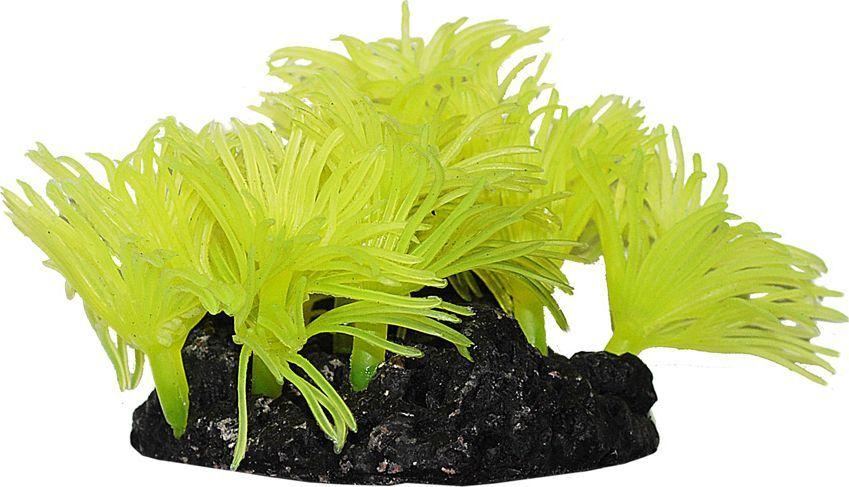 Коралл для аквариума Уют Актинии солнечные, желтые, силиконовый, высота 10 см