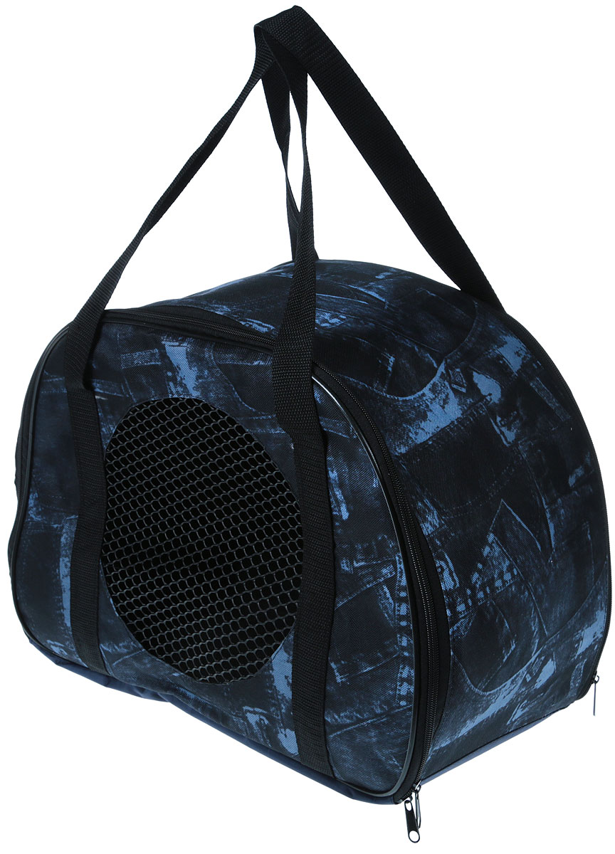Сумка-переноска для животных Теремок, цвет: черный, синий, 45 х 22 х 30 см сумка переноска для животных elite valley батискаф с отверстием для головы цвет темно синий черный 37 х 14 х 16 см