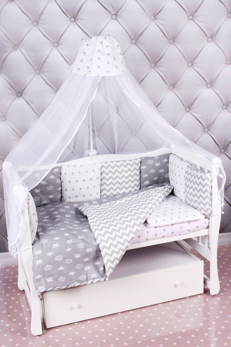 Amarobaby Комплект белья для новорожденных Royal Baby цвет серый 18 предметов