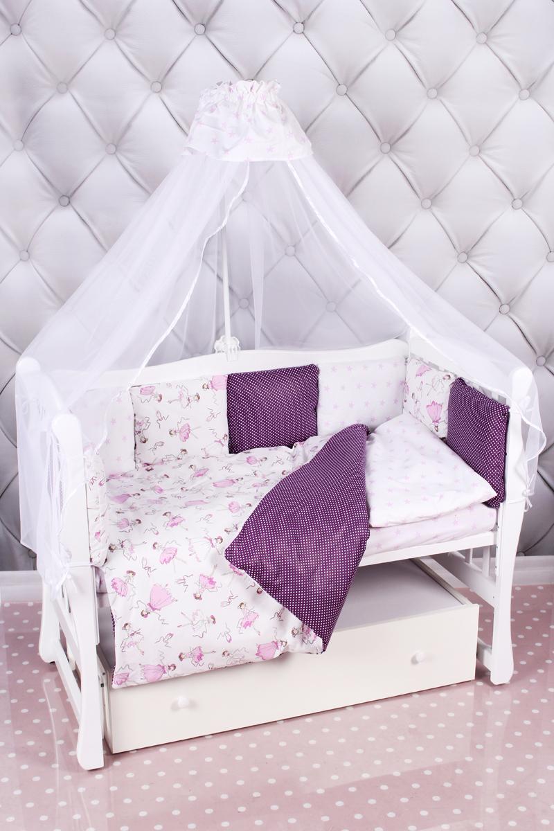 """Комплект в кроватку AmaroBaby """"Амели"""", вишня, белый, 18 предметов (6+12 подушек-бортиков)"""