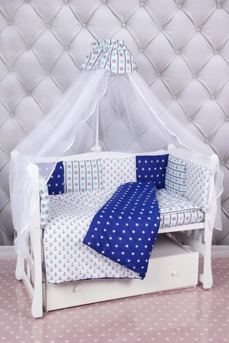 """Комплект в кроватку AmaroBaby """"Бриз"""", синий, белый, 18 предметов (6+12 подушек-бортиков)"""