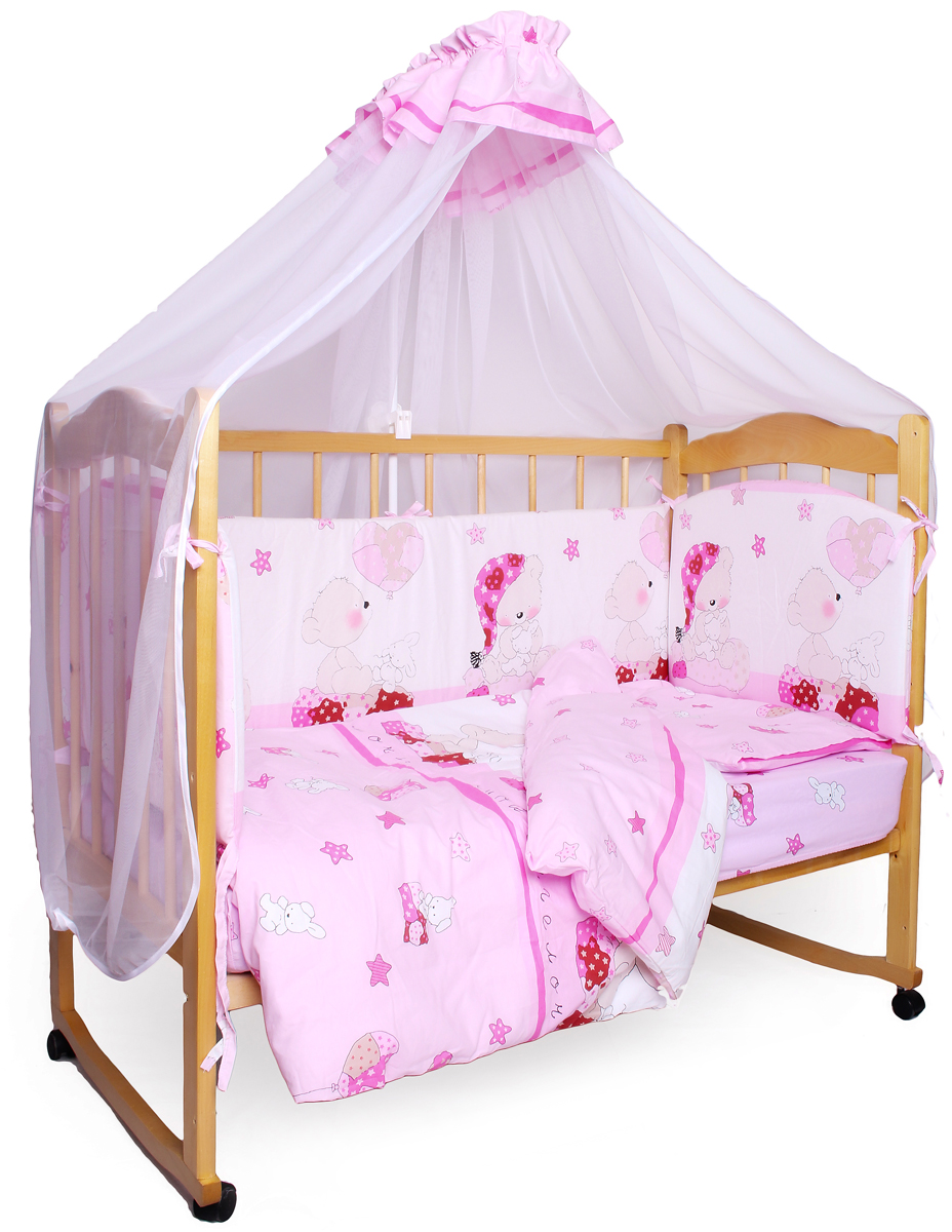 Amarobaby Комплект белья для новорожденных Мишкин сон цвет розовый 7 предметов