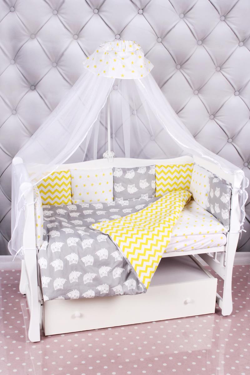 """Комплект в кроватку AmaroBaby """"Совята"""", желтый, серый, 18 предметов (6+12 подушек-бортиков)"""