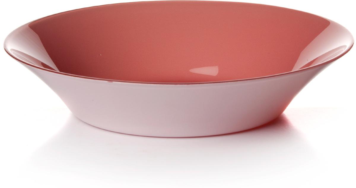 Тарелка глубокая Pasabahce Прованс, цвет: розовый, диаметр 22 см тарелка pasabahce атлантис цвет прозрачный диаметр 21 см