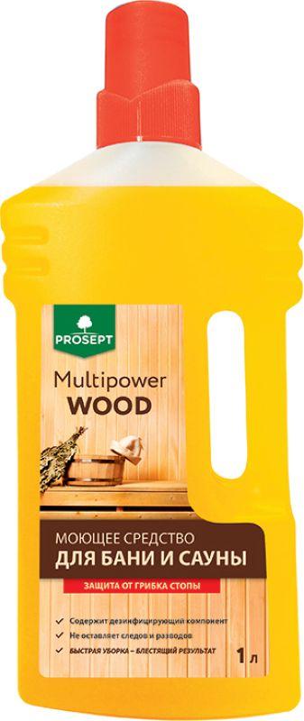 Моющее средство для бани и сауны Prosept Multipower Wood, 1 л267-1Моющее средство для бани и сауны с содержанием дезинфицирующего компонента. Подходит для деревянных, стеклянных, керамических поверхностей. Прекрасно очищает от грязи и копоти пол, полки, керамическую плитку, мозаику. Товар сертифицирован.