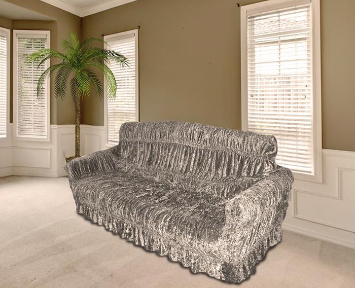 Чехол на мебель МарТекс, для трехместного дивана и 2 кресел, цвет: серый. 05-0468-3 набор чехлов для дивана и кресел мартекс с карманами 3 предмета 05 0751 3