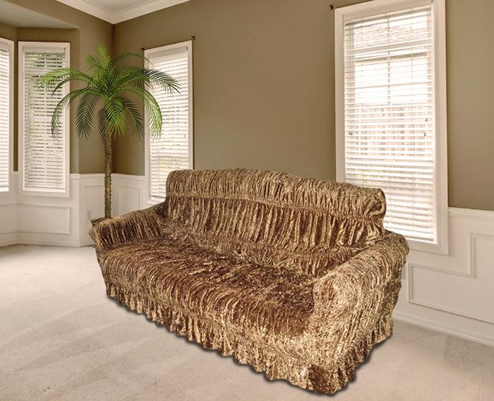 Чехол на мебель МарТекс, для трехместного дивана и 2 кресел, цвет: бронзовый. 05-0469-3 набор чехлов для дивана и кресел мартекс с карманами 3 предмета 05 0751 3