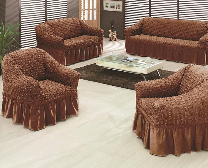 Чехол на мебель МарТекс, для трехместного дивана и 2 кресел, цвет: темно-коричневый. 05-0470-3 набор чехлов для дивана и кресел мартекс с карманами 3 предмета 05 0751 3