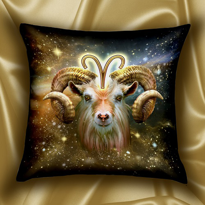 Подушка декоративная МарТекс Звездный круг. Овен, цвет: коричневый, 45 х 45 см цена