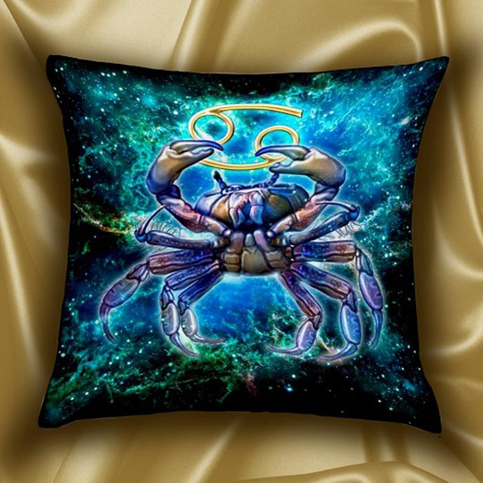 Подушка декоративная МарТекс Звездный круг. Рак, цвет: голубой, 45 х см