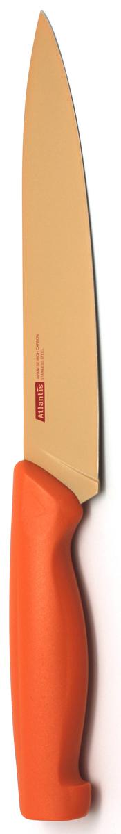 Нож для нарезки Atlantis, цвет: оранжевый, длина лезвия 17,5 см. 7S-O7S-OНож для нарезки Atlantis изготовлен из японской высокоуглеродистой нержавеющей стали. Прочный и острый клинок обеспечивает идеальную нарезку мяса, овощей, сыра и других продуктов. Безопасное покрытие лезвия не дает пище прилипать к ножу. Эргономичная рукоятка изготовлена из пластика с антибактериальной защитой Microban, которая замедляет рост бактерий, вызывающих пятна и неприятный запах. Яркий дизайн, а также красивое сочетание оранжевых оттенков клинка и ручки добавит красок в интерьер вашей кухни. Характеристики: Материал: нержавеющая сталь, пластик. Цвет: оранжевый. Длина лезвия: 17,5 см. Общая длина ножа: 29,5 см. Артикул: 7S-O.