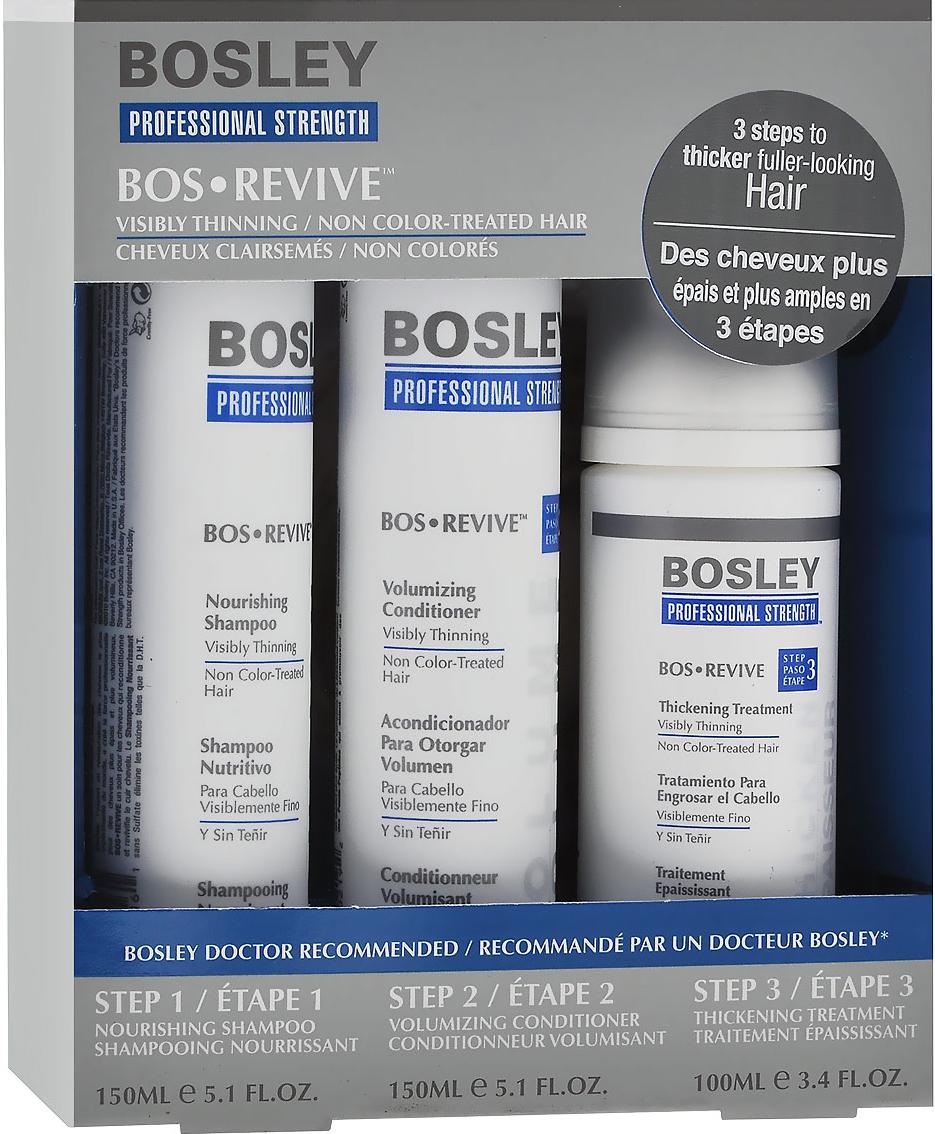 Bosley Набор для истонченных и неокрашенных волос: шампунь, кондиционер, несмываемый уход bosley система оранжевая для истонченных окрашенных волос шампунь 150мл кондиционер 150мл уход 100мл