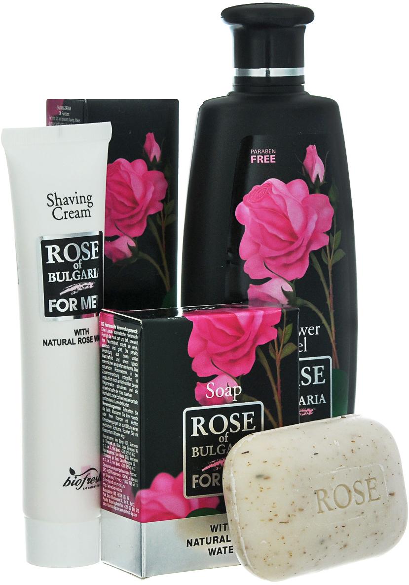 Rose of Bulgaria for men Подарочный набор мужской: гель для душа-шампунь 2 в 1, 230 мл, мыло для мужчин, 100 г, крем для бритья, 75 мл недорго, оригинальная цена