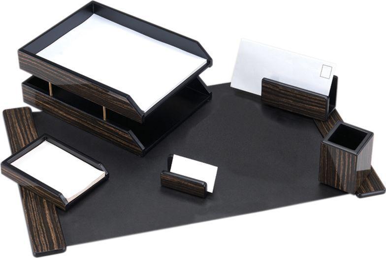 Delucci Настольный канцелярский набор 6 предметов цвет эбонитовое дерево