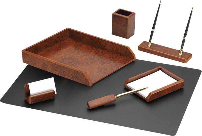 Delucci Настольный канцелярский набор 7 предметов цвет коричневый орех delucci канцелярский набор 9 предметов цвет красное дерево