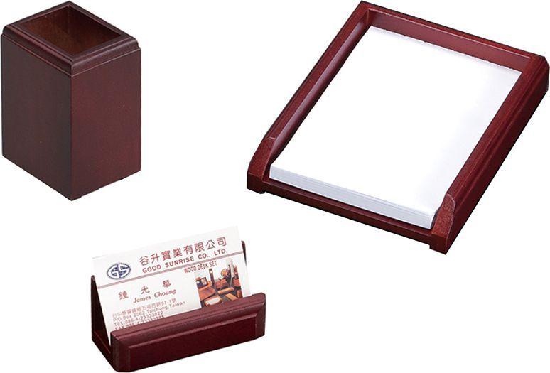 Delucci Настольный канцелярский набор 3 предмета цвет красное дерево 255642