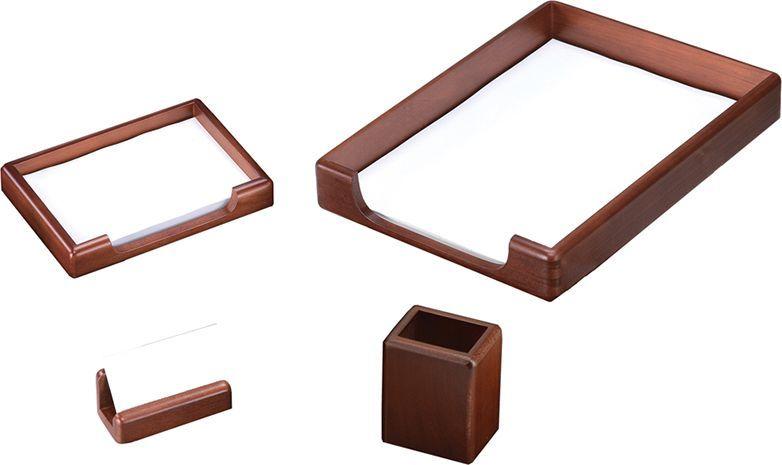 Delucci Настольный канцелярский набор 4 предмета цвет темно-коричневый орех 255644